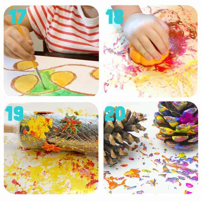 Collage-5-Fall Art Projects For Kids You Must Try! Here are 20 exciting Fall art ideas that explore Autumn colours in new and exciting ways. You'll never look at red, orange and yellow paint in the same way again! Fall Painting ideas made fun!