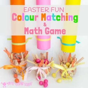 EASTER COLOUR MATCHING AND MATH GAME - kids will love sorting, posting and counting chocolate eggs in this fun, colourful, hands on game.