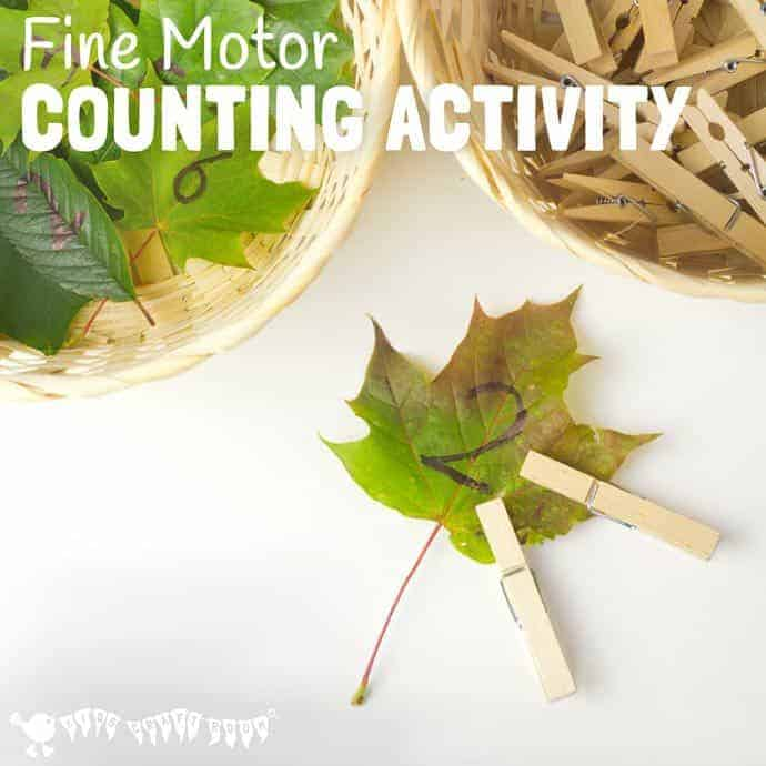 FINE MOTOR COUNTING ACTIVITY - This wonderful seasonal counting activity uses leaves to develop early math one to one correspondence, number recognition and develop fine motor skills too.