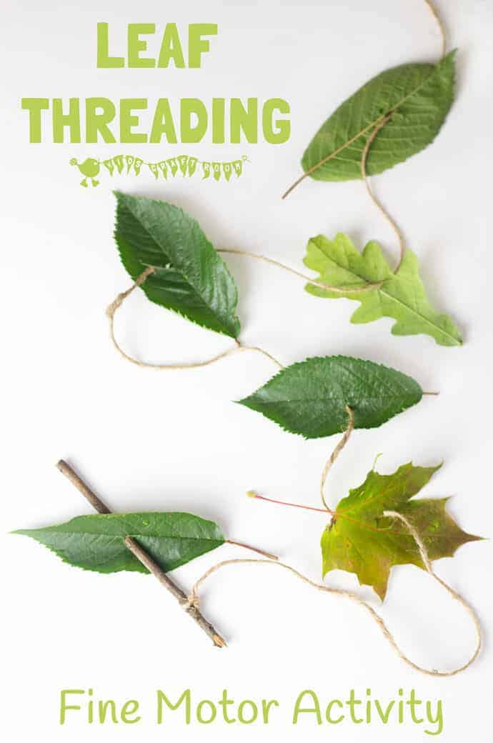 ALL NATURAL LEAF THREADING ACTIVITY - a nature activity for kids to build fine motor skills and get creative. A lovely outdoor activity for kids this Fall.  #motorskills #finemotorskills  #natureactivities #naturecrafts #kidscraftsroom #kidsactivities #earlyyears #ECE #preschool #prek #preschoolactivities #leaf #leaves #threading #sewing #kidssewing