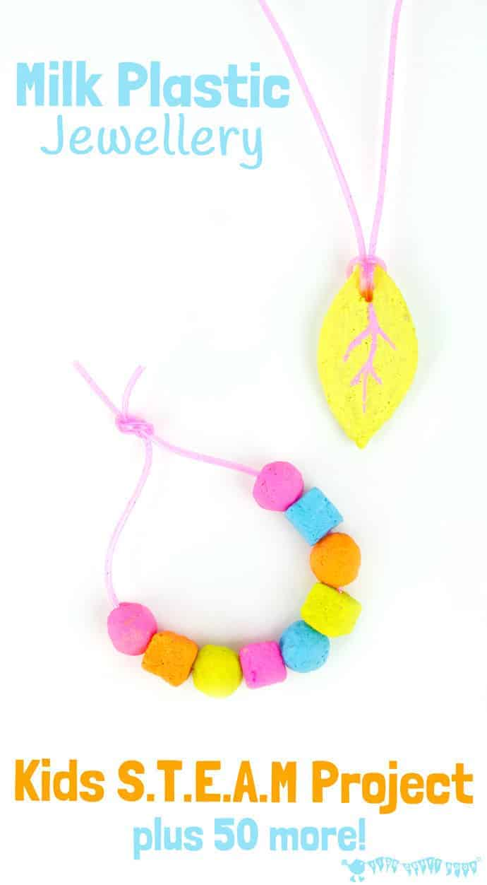 Milk Plastic Jewellery STEAM project for kids and 50+ awesome STEAM activities from the new STEAM Kids book.