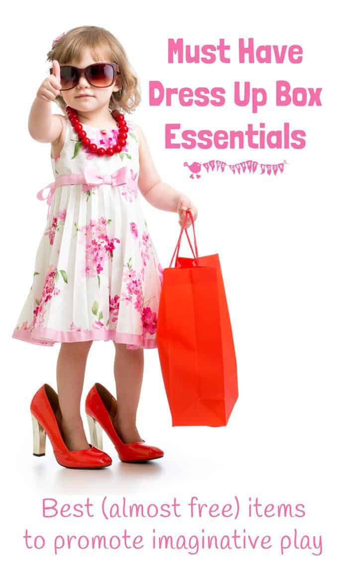 Make the best dress up box for your kids with our must have dress up ideas. The top (almost free) essentials to promote hours of quality imaginative play. #play #playideas #dramaticplay #dressup #dressingup #costumes #kidscostumes #qualityplay #dressupbox #kidsactivities #imaginativeplay #promoteplay #kidscraftroom #kidsactivities #preschool #prek