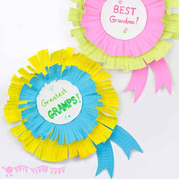 Paper Plate Rosettes are a great Grandparent's Day Craft. Every Granny and Grandad will feel appreciated receiving a personalised award they can wear too!