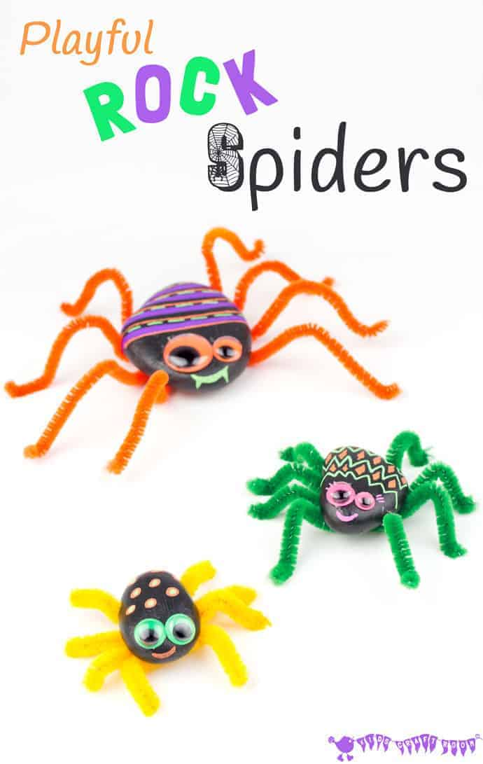 This PLAYFUL ROCK SPIDER CRAFT is adorably cute! Homemade spiders are fab for year round imaginative play, acting out Itsy Bitsy Spider songs and Halloween! A fun pebble nature craft for kids.