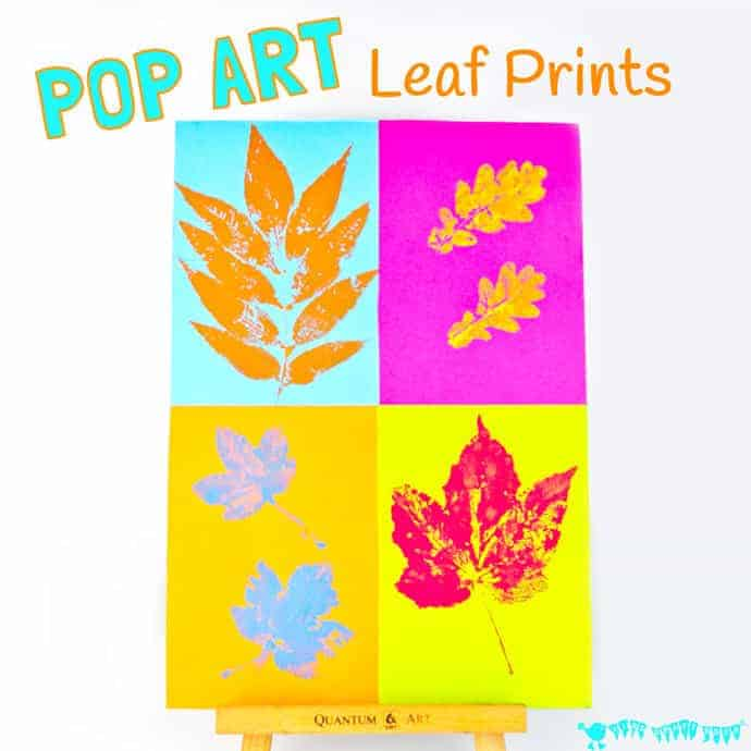 POP ART LEAF PRINTING is such a fun fall art idea for kids. This Autumn painting activity puts a new spin on leaf printing to make fun and vibrant POP ART! An interesting fall craft for kids of all ages to explore. #fall #fallart #autumn #autumnart #kidsart #artforkids #leaf #leaves #fallcrafts #kidscrafts #craftsforkids #fallactivities #kidsactivities #falldecor #popart