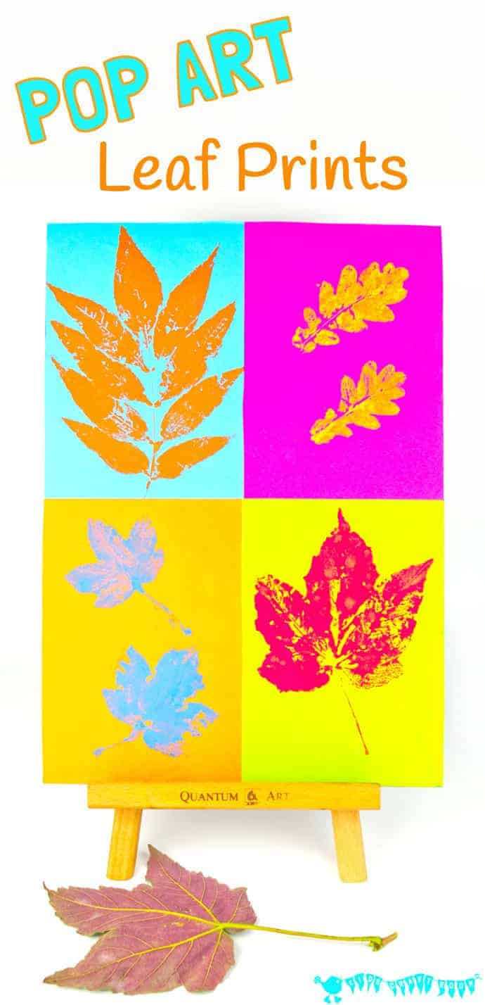 "POP ART LEAF PRINTING Kids will love making vibrant leaf art with this printing technique. It takes a classic leaf prints painting activity from ""meh' to ""WOW!"" #fall #fallart #autumn #autumnart #kidsart #artforkids #leaf #leaves #fallcrafts #kidscrafts #craftsforkids #fallactivities #kidsactivities #falldecor"