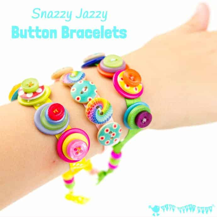 SNAZZY JAZZY BUTTON BRACELETS are a great sewing project for kids and for fun loving grown ups! Homemade button bracelets make great gifts too.