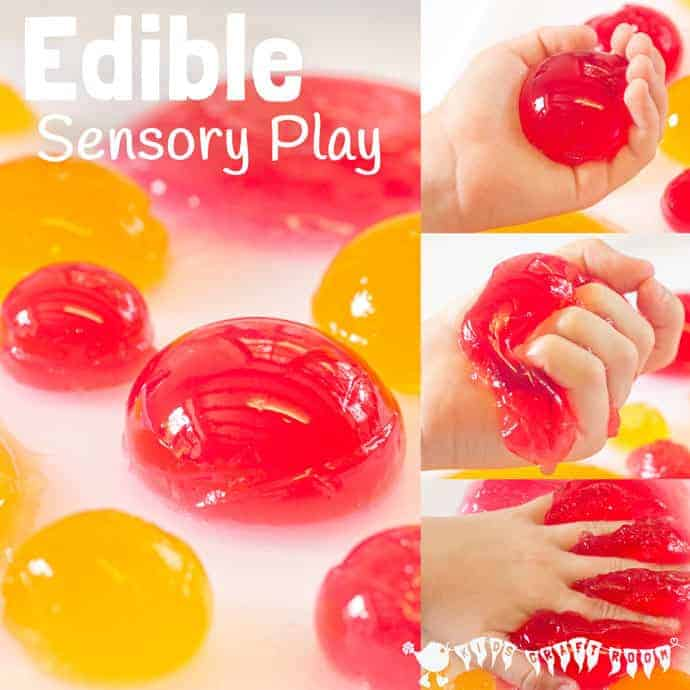 EDIBLE SENSORY PLAY BALLS ACTIVITY - a truly multi sensory play experience. Kids will love feeling, smelling, hearing, seeing and tasting it!
