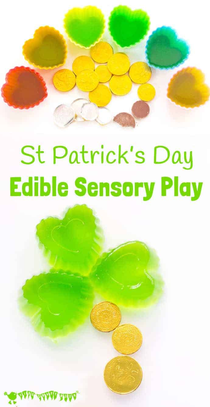 Kids will adore this edible sensory play St Patrick's Day activity. Explore giant wobbly shamrock leaves and tasty treasure from the end of the rainbow!