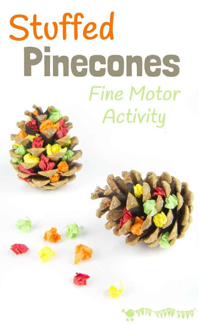 Stuffed Pinecones is a fun Nature craft and fine motor activity for kids to enjoy. A pinecone craft for kids that's educational and fun. It's a lovely Fall activity but change the colours and use it for a seasonal craft all year round.