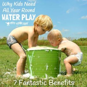 Water play is great fun and not just for Summer!  Discover the full benefits of water play and tips to easily incorporate it into your day to day play schedule throughout the whole year.