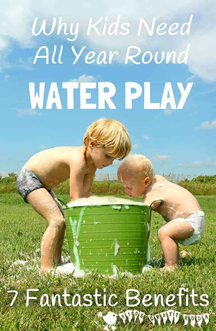 Water play is great fun and not just for Summer!  Discover the full benefits of water play and tips to easily incorporate it into your day to day play schedule throughout the whole year.  #sensory #sensoryplay #sensoryplayideas #waterplay #wateractivities #watertable #sensorybins #kidscraftsroom  #play #playideas #kidsactivities #earlyyears #ECE #preschool #prek #preschoolactivities #summeractivities #waterwall #outdoorplay