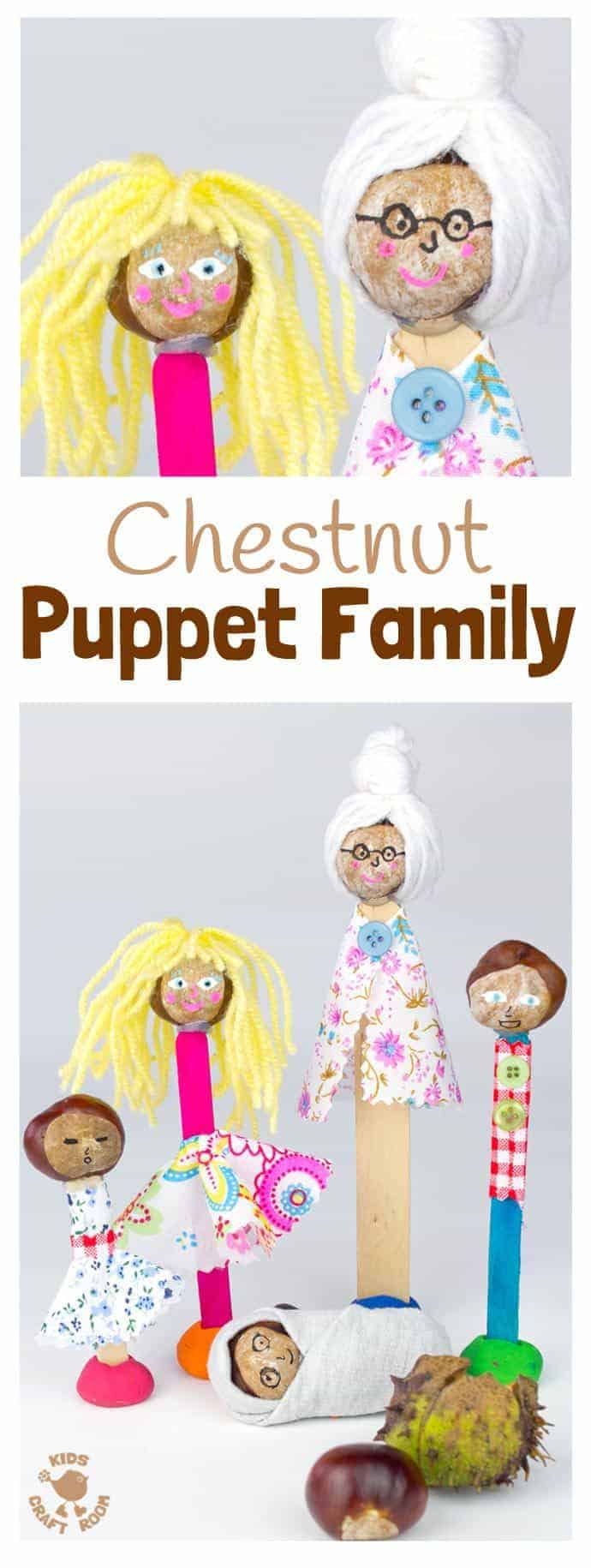 HOMEMADE PUPPETS CHESTNUT CRAFT - Make a Puppet Family with this fun and creative chestnut craft for kids. Chestnut puppets give kids hours of imaginative play & story telling. (buckeye craft/ conker craft)