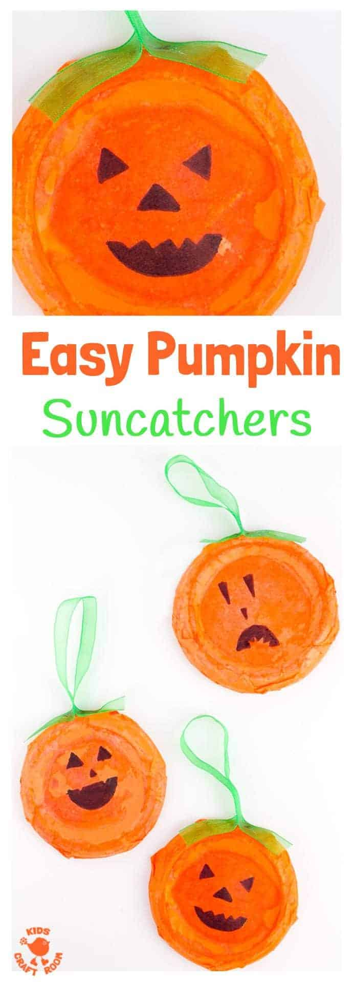 EASY PUMPKIN SUNCATCHERS - This Pumpkin Craft is perfect for toddlers and preschoolers. Kids will love decorating their homemade pumpkins with fun cheeky faces. This characterful pumpkin craft makes great Halloween craft and looks fabulous in the window as Halloween Suncatchers. Such fun!