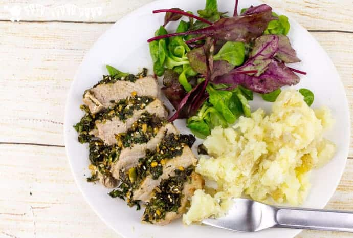 Herby-Dukkah-Crusted-Pork-With-Crushed-Potatoes-and-Green-salad-from-Hello-Fresh