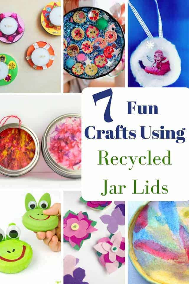 RECYCLED JAR LID CRAFTS - Kids will love making all sorts of fun crafts using recycled jar lids.