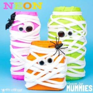 Neon Mason Jar Mummies