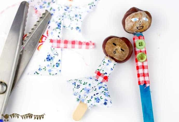 making-man-and-child-clothes- Make a Puppet Family with this fun and creative chestnut craft for kids. These chestnut people will give kids hours of imaginative play & story telling. (buckeye craft/ conker craft)
