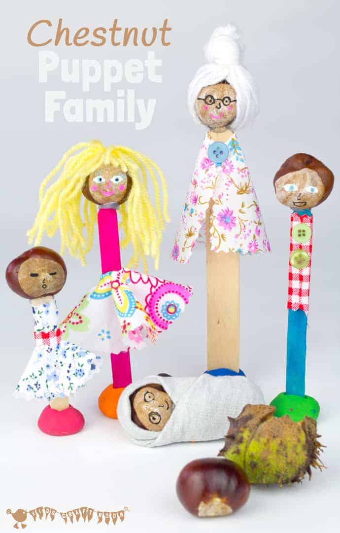 Make a Puppet Family with this fun and creative chestnut craft for kids. These chestnut people will give kids hours of imaginative play & story telling.