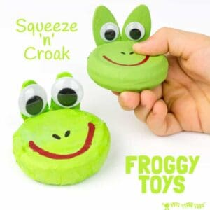 CROAKING FROG CRAFT - Recycle jar lids to make a squeeze 'n' croak frog toy. These little homemade frogs really croak! A fun kids craft to go with nursery rhymes and story telling. RIBBIT!