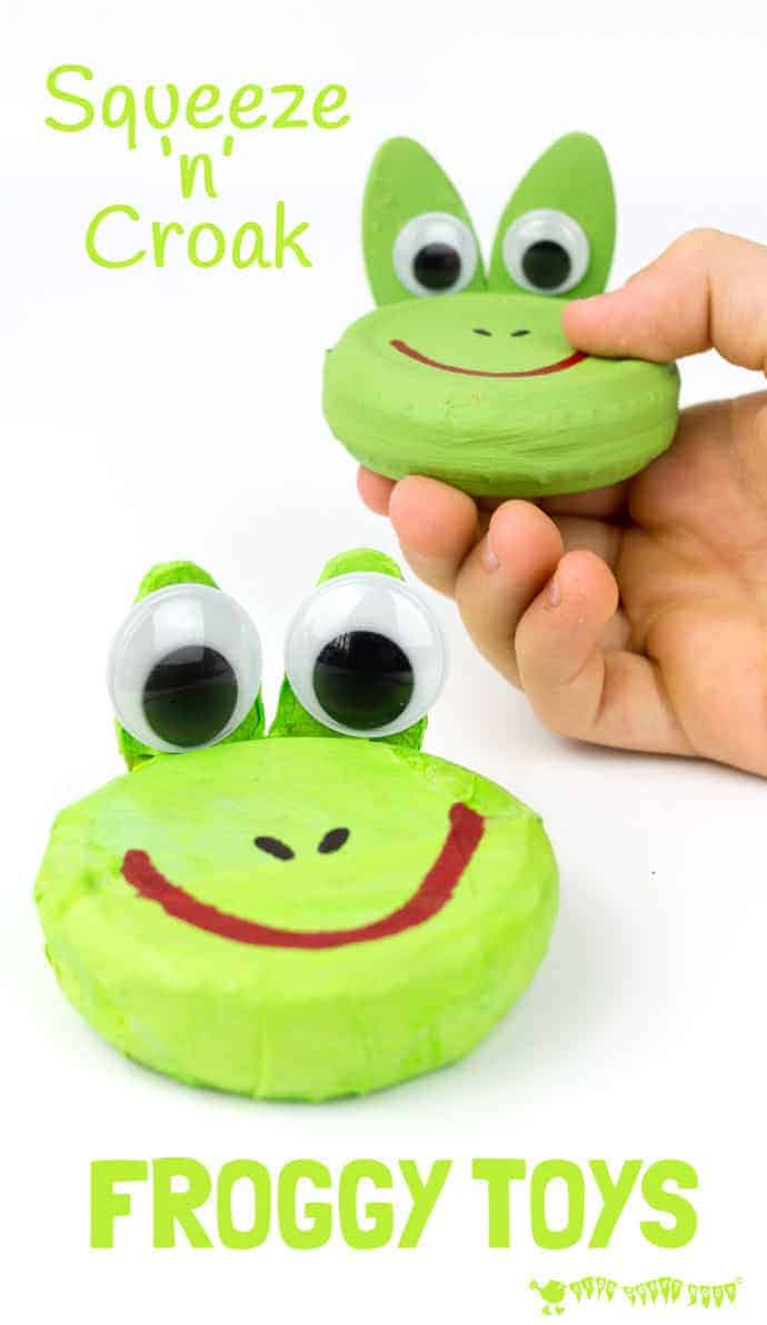 CROAKING FROG CRAFT - Recycle jar lids to make a squeeze 'n' croak frog toy. These little homemade frogs really croak! A fun froggy kids craft to go with nursery rhymes and story telling. RIBBIT! #frogs #frogcrafts #spring #springcrafts #music #musicalinstruments #homemadeinstruments #diyinstruments #recycledcrafts #homemadetoys #kidscrafts #kidscraftroom #jarlids