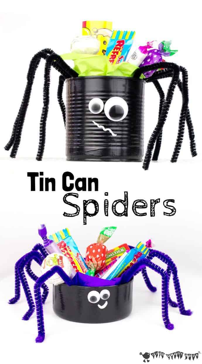 This Tin Can Spider craft is a great way to reuse tin cans. It's a fun and easy last minute Halloween craft and looks fabulous filled with Halloween treats.