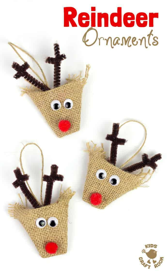 ADORABLE BURLAP REINDEER ORNAMENTS - a simple no-sew Christmas craft for kids. A lovely homemade reindeer decoration for the Christmas tree.