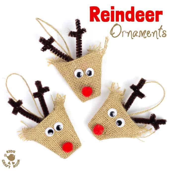 Adorable Burlap Reindeer Ornaments Kids Craft Room