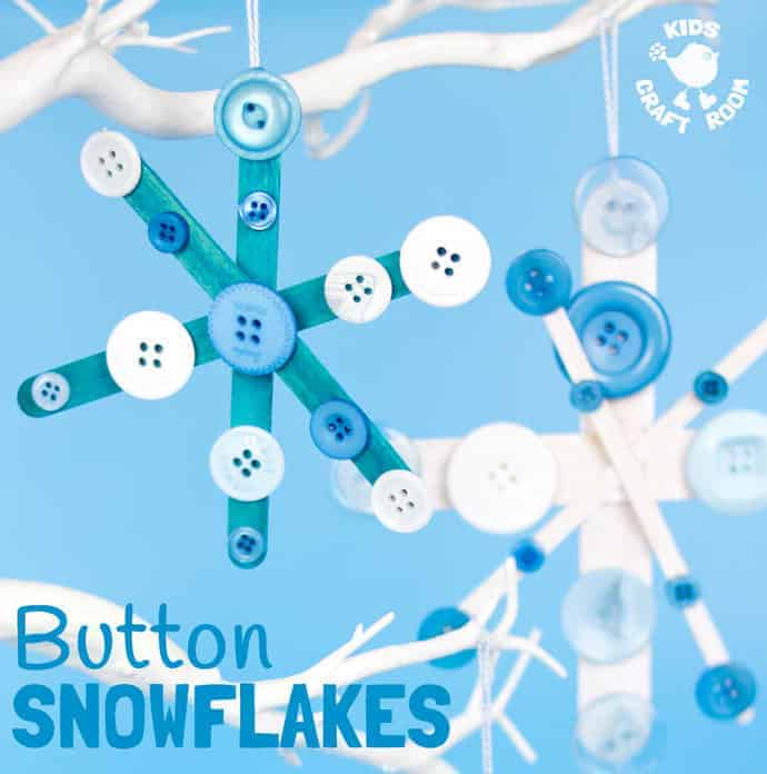 BUTTON SNOWFLAKE CRAFT - A gorgeous Winter and Christmas craft for kids from the new book 30 Christmas Ornaments. Christmas crafts are a great way to make memories you'll treasure year after year.