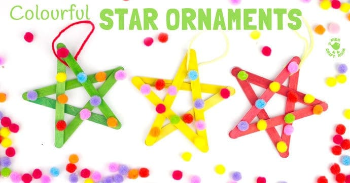 These colourful pom pom popsicle stick stars will look amazing hanging on your Christmas tree or as a bright and cheery bedroom or nursery display all year round.