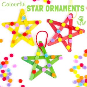 Colourful Pom Pom Popsicle Stick Stars
