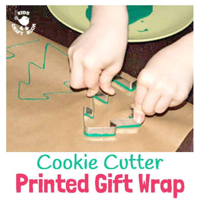 Quick and easy Cookie Cutter Printed Wrapping Paper, a great christmas craft for kids to make gifts special. The easiest way to make DIY printed gift wrap.