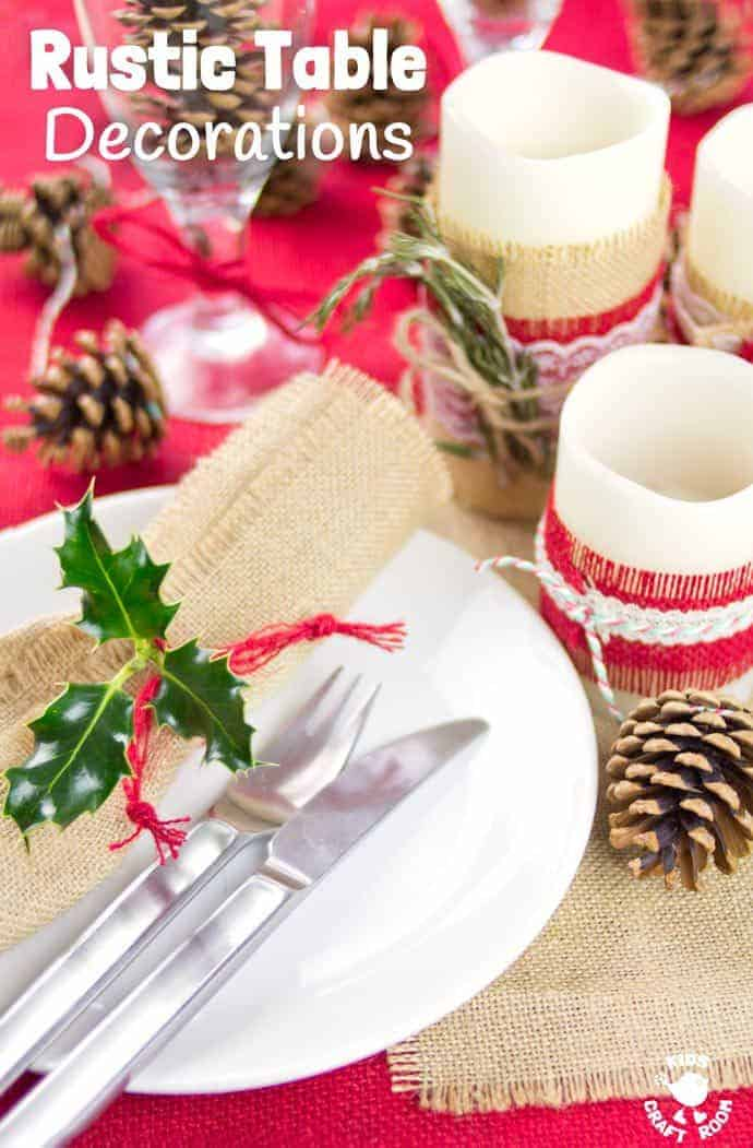 transform your dining table with lovely homemade rustic table decorations easy 5 minute country style - Rustic Country Christmas Table Decorations