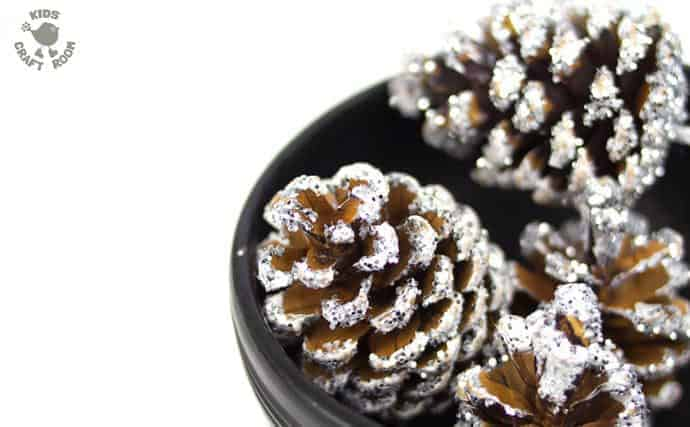A classic frosty pinecone craft with a clever twist makes gorgeous Winter and Christmas ornaments. A super frosty, super sparkly and super fun Winter craft for kids!