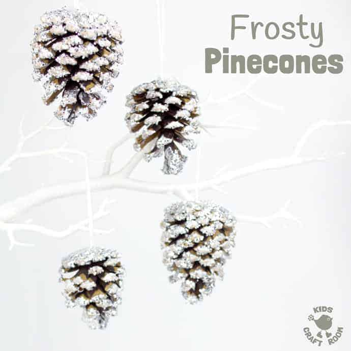 This frosty pinecone craft, based on a classic, has a clever little twist that really gives its frosty appearance a special edge! These pinecones are super frosty, super sparkly and super fun for little hands to make! They look great as Christmas ornaments or for a Winter display. #christmas #winter #ornaments #pinecones #naturecrafts #kidscrafts #fallcrafts #pineconecrafts #wintercrafts #wintercraftideas #craftsforkids #snow #frost #Winteractivities #winterart #kidscraftideas