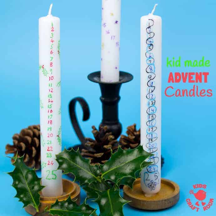 Homemade advent candles are fun for kids and grown ups. A simple Christmas craft the whole family will enjoy day after day during the Christmas countdown.