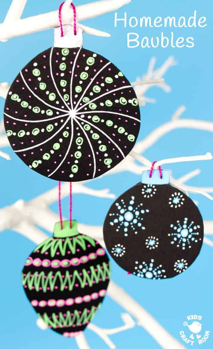 HOMEMADE BAUBLES Make vibrant and gorgeous homemade baubles to hang on your Christmas tree. These DIY Christmas ornaments are a great Posca Pen craft for kids and grown ups. #christmas #ornaments #kidscrafts #christmascrafts #posca #kidscraftroom