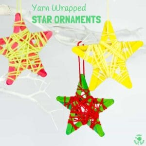 YARN WRAPPED STAR ORNAMENTS are a fun popsicle stick craft to build fine motor skills. They look great hanging on the Christmas tree, as a bedroom mobile or for a Space themed study topic.