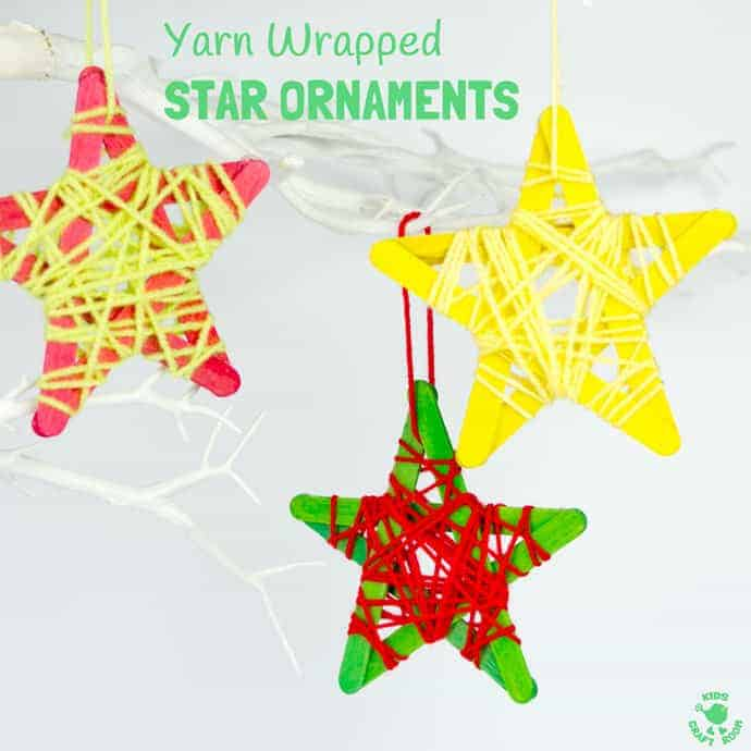 Yarn Wrapped Star Ornaments Kids Craft Room