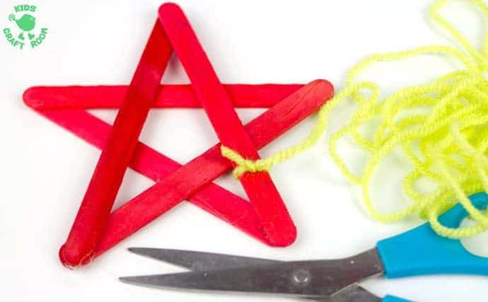 Yarn Wrapped Popsicle Stick Star Ornaments-step 1