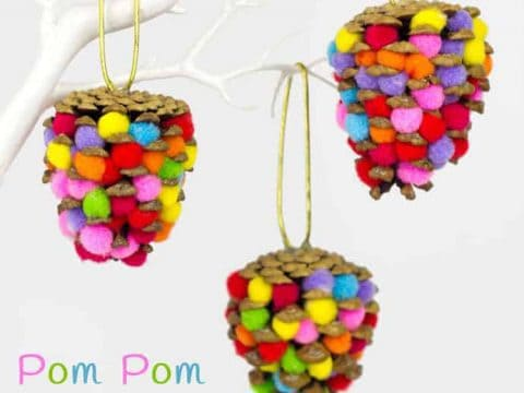 Colourful Pom Pom Pinecones - Kids Craft Room