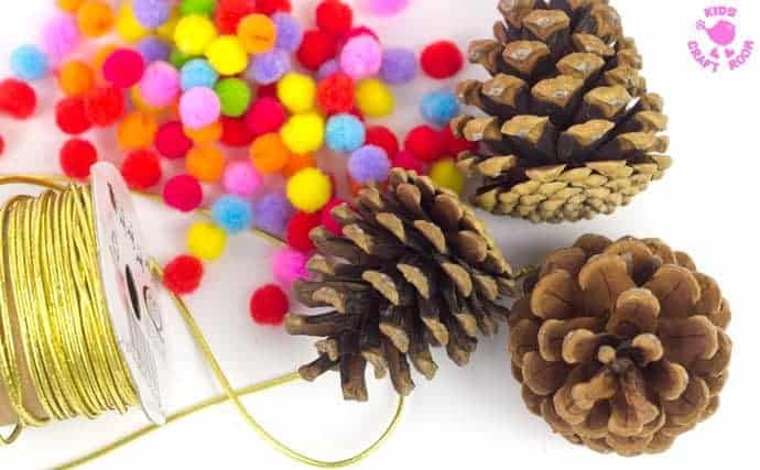 Colourful Pom Pom Pinecone craft step 1