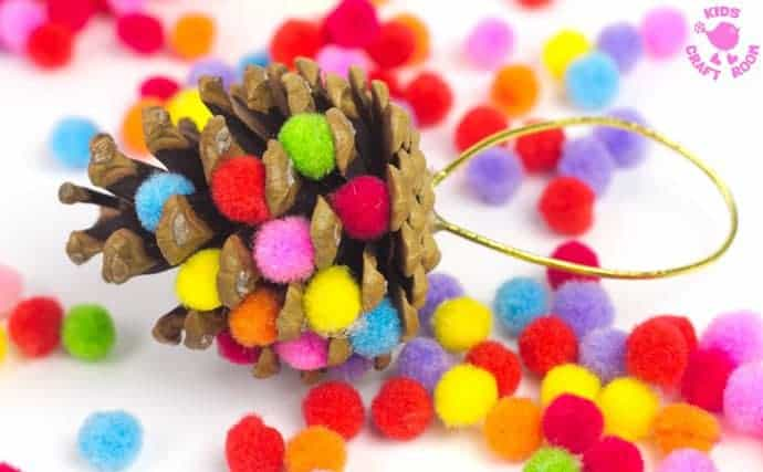 Colourful Pom Pom Pinecone craft step 3
