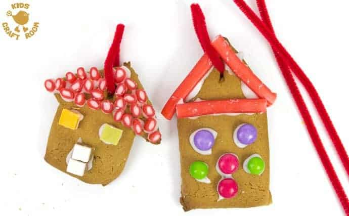 This easy gingerbread house recipe is great fun for the whole family. Forget the frustrations of 3D houses that fall down and make pretty 2D gingerbread houses instead. Just as pretty and delicious but without all the hassle! These cute gingerbread houses can be hung on the Christmas tree and given as gifts too. step 6