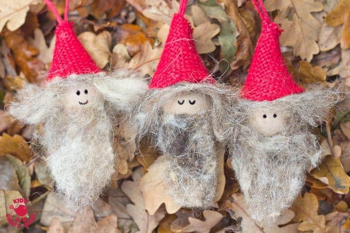 Rustic Christmas Gnomes are a fun Christmas craft for kids. Homemade gnome ornaments bring colour and cheer to your Christmas tree. Every home needs a cheeky gnome family!