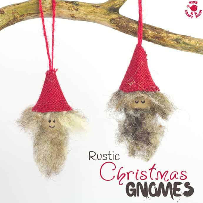 RUSTIC CHRISTMAS GNOMES are a fun Christmas craft for kids. Homemade gnome or elf ornaments bring colour and cheer to your Christmas tree. Every home needs a cheeky gnome or elf family! #christmas #ornaments #christmascrafts #kidscrafts #gnomes #elf #elves #elfcraft #rustic #burlap #burlapcrafts #kidscraftroom