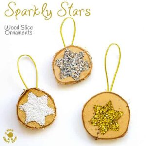 Sparkly Star Wood Slice Ornaments