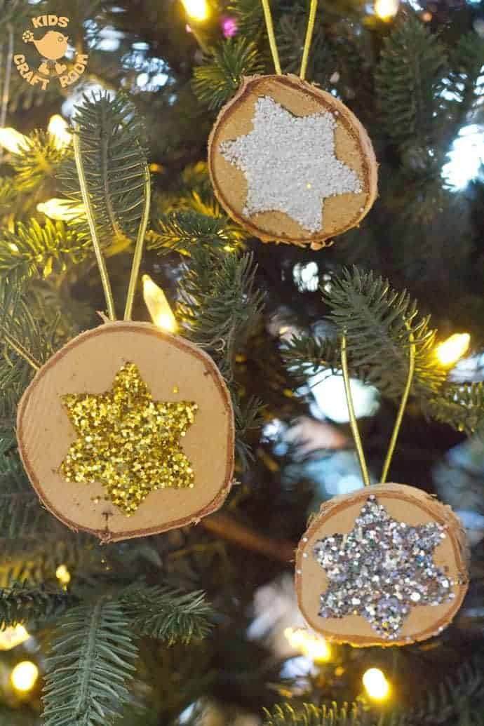 sparkly star wood slice ornaments are a quick and easy christmas craft these diy wooden - Wooden Christmas Crafts