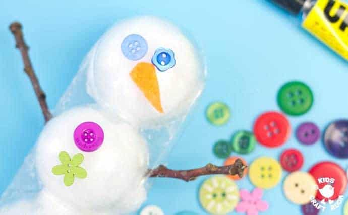 3D Cotton Ball Snowman Craft Step 6