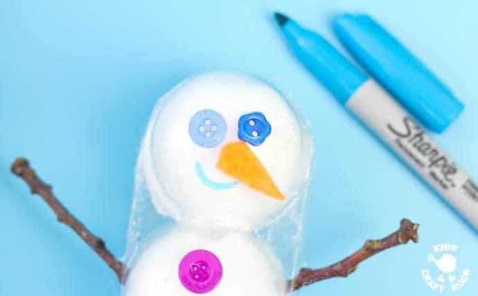 Step 7- 3D COTTON BALL SNOWMAN CRAFT - Here's a snowman idea with a difference! Learn how to make a 3D snowmen that really stand up! This is such a fun Winter craft for kids.